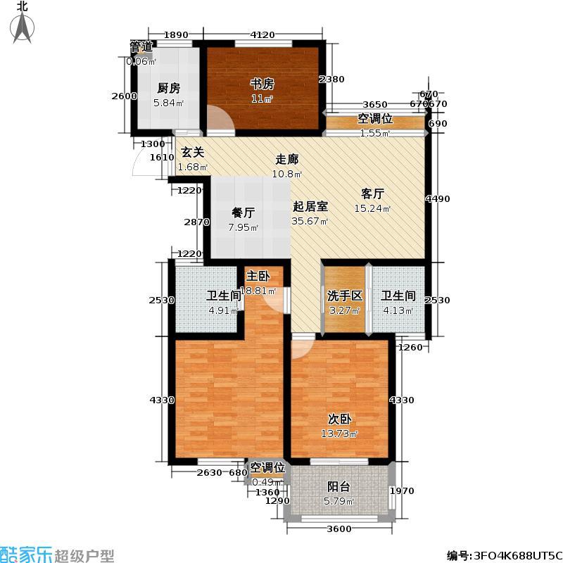 丰臣南郡122.00㎡丰臣南郡户型图三房二厅二卫-122平方米-52套(1/4张)户型10室