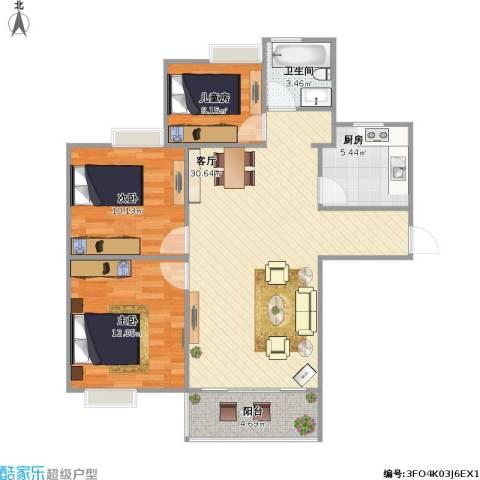 琥珀新天地3室1厅1卫1厨98.00㎡户型图
