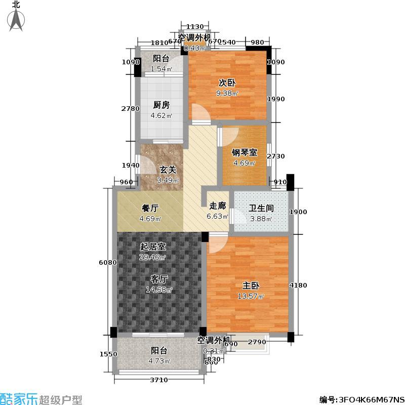 新城玉龙湾92.87㎡新城玉龙湾户型图三房二厅一卫:92.87平米(3/6张)户型10室