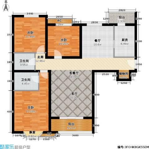 城南嘉园3室1厅2卫1厨124.00㎡户型图