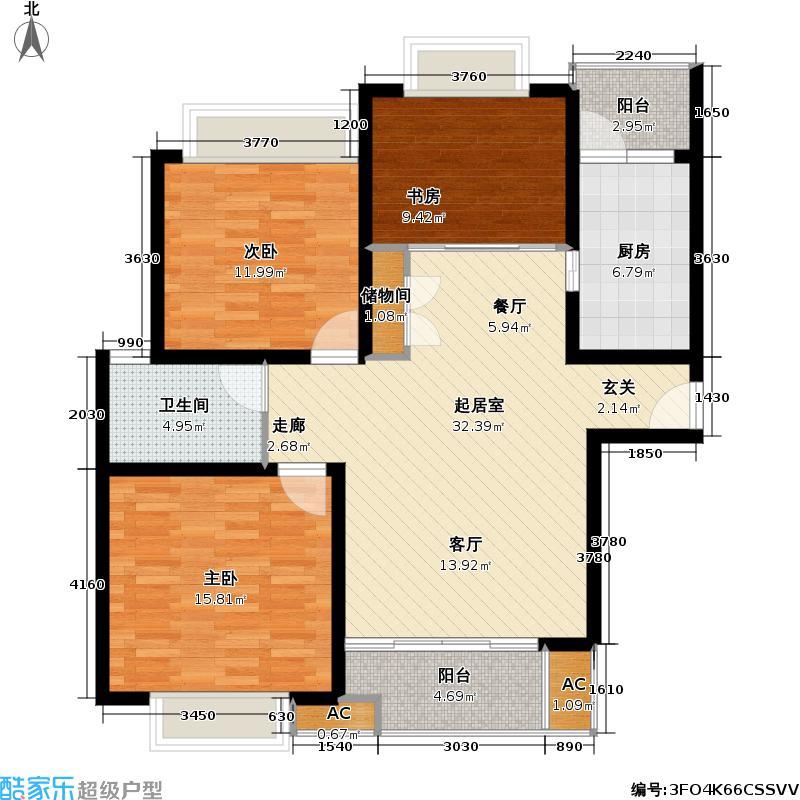 凯尔枫尚-户型3室1卫1厨