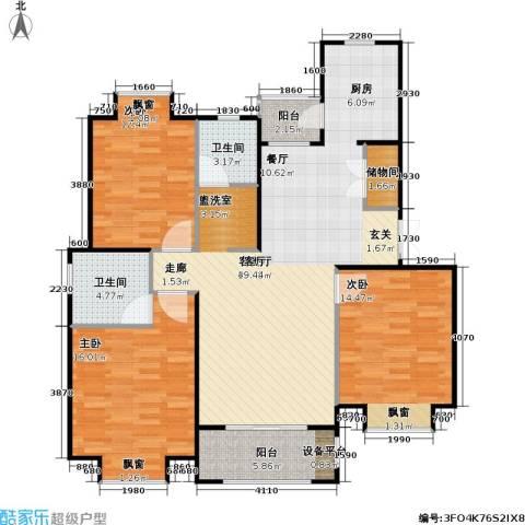 金光大道二期文昌花园3室1厅2卫0厨111.00㎡户型图