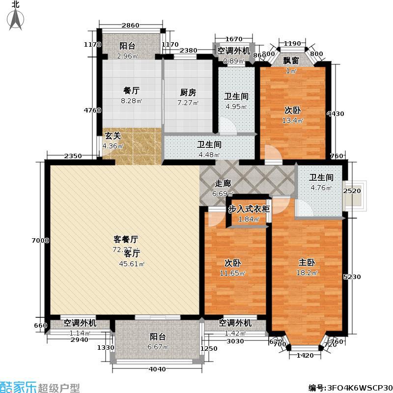 东苑利景花苑二期房型户型3室1厅2卫1厨