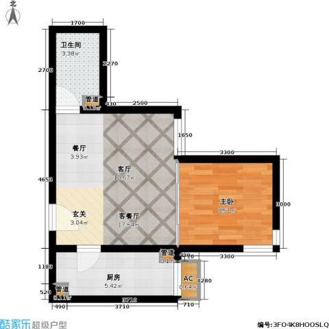 清枫华景园1室1厅1卫1厨53.00㎡户型图