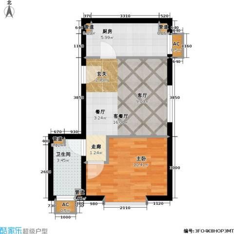 清枫华景园1室1厅1卫1厨54.00㎡户型图