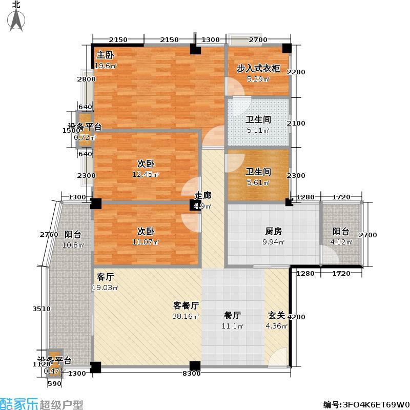 保利海寓148.00㎡保利海寓户型图D户型三房二厅二卫(2/2张)户型10室