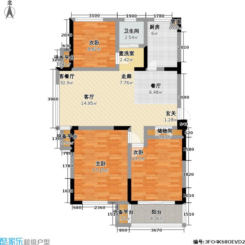 御源林城109.00㎡御源林城户型图三房二厅一卫-109平方米(13/13张)户型10室