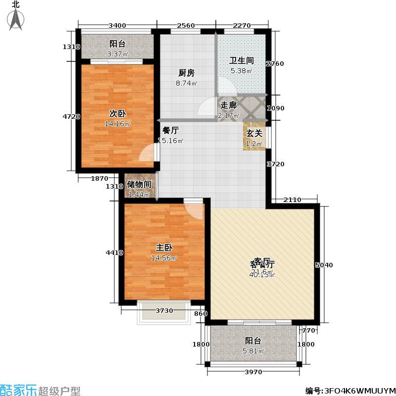 建华新苑104.10㎡房型: 二房; 面积段: 104.1 -122.21 平方米; 户型