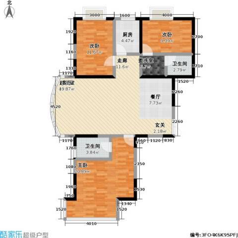 冠城3室0厅2卫1厨136.00㎡户型图