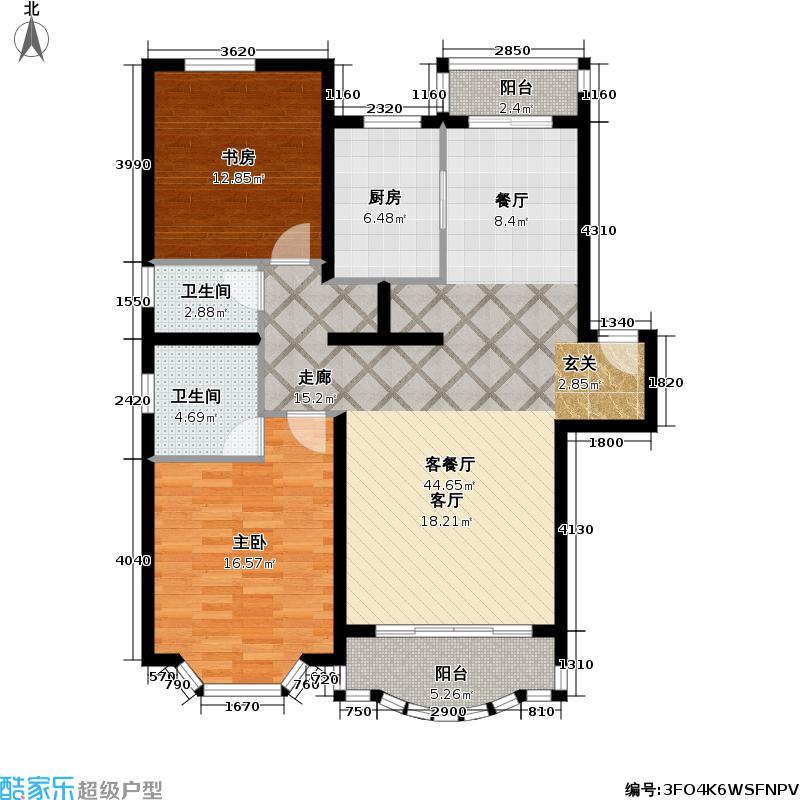 阳明国际花苑一期房型户型2室1厅2卫1厨