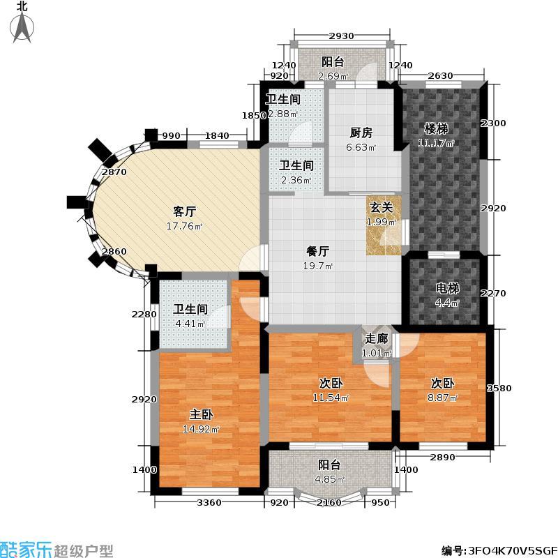 金苹果花园102.00㎡房型: 三房; 面积段: 102 -133.94 平方米; 户型