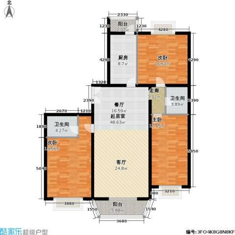 通典铭居3室0厅2卫1厨136.00㎡户型图