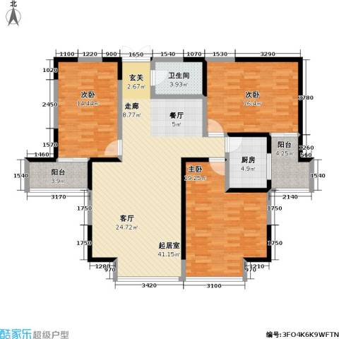 冠城3室0厅1卫1厨122.00㎡户型图
