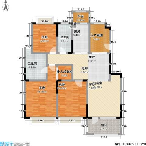 绿地华尔道名邸3室0厅2卫1厨142.00㎡户型图