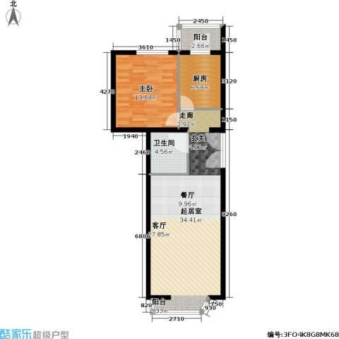 通典铭居1室0厅1卫1厨69.00㎡户型图