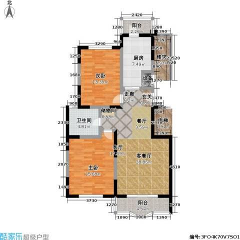 金苹果花园2室1厅1卫1厨97.00㎡户型图