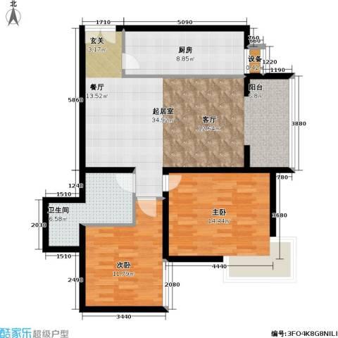 通典铭居2室0厅1卫1厨87.00㎡户型图