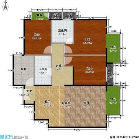 星源国际公寓3室0厅2卫1厨121.00㎡户型图