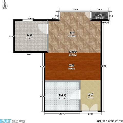 星源国际公寓1卫1厨52.00㎡户型图
