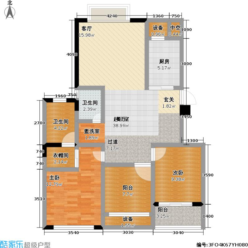 山合院D户型2室2卫1厨