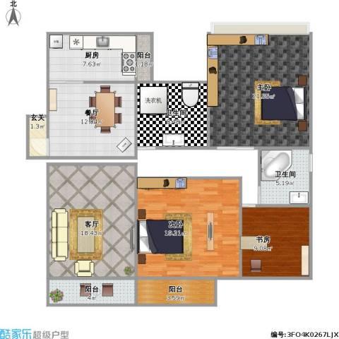 盛世华庭3室2厅2卫1厨150.00㎡户型图