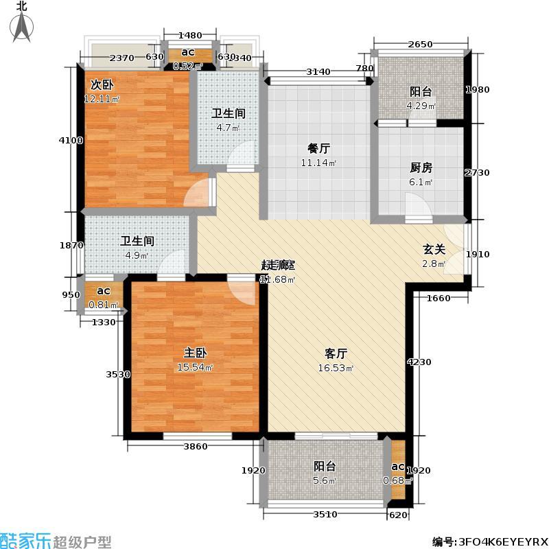 东湖林语115.00㎡东湖林语户型图E户型(1/14张)户型2室1厅2卫