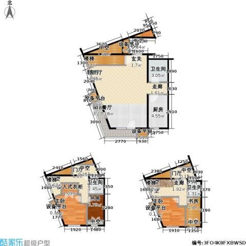 万科金阳国际公寓4室1厅3卫1厨88.33㎡户型图