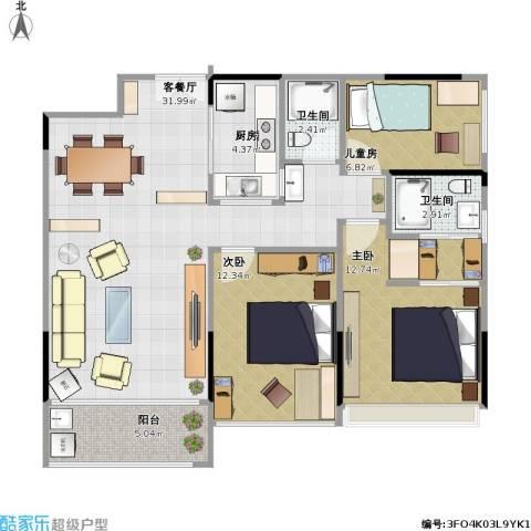 诺德名筑3室1厅2卫1厨106.00㎡户型图