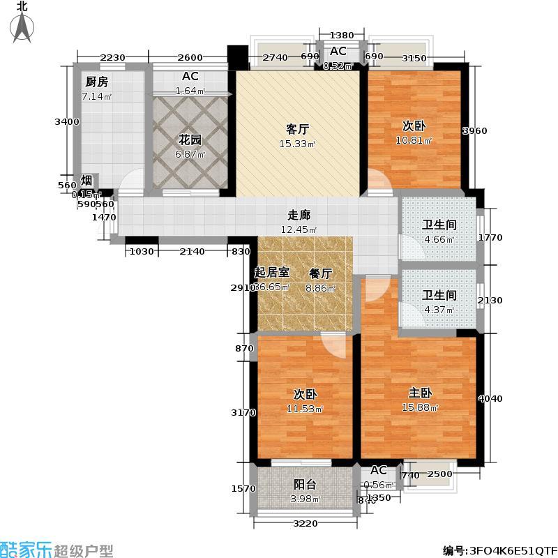 彩虹城观澜户型3室2卫1厨