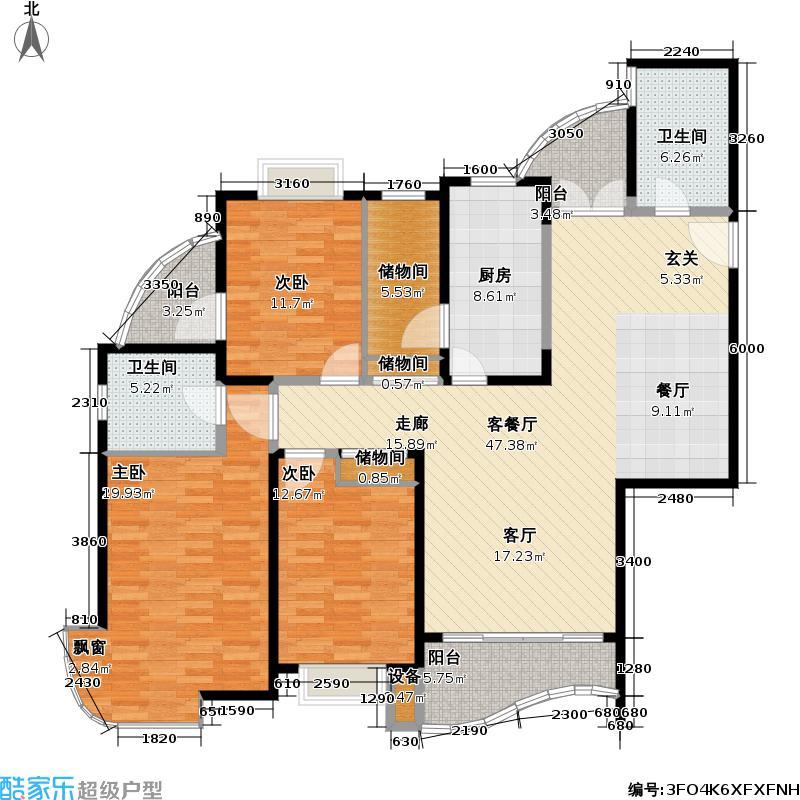 音乐广场(三期)147.11㎡房型: 三房; 面积段: 147.11 -158.75 平方米;户型