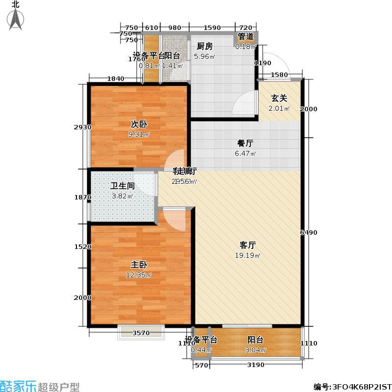 呈龙国际84.60㎡呈龙国际户型图一期一批次户型图(3/3张)户型2室1厅1卫