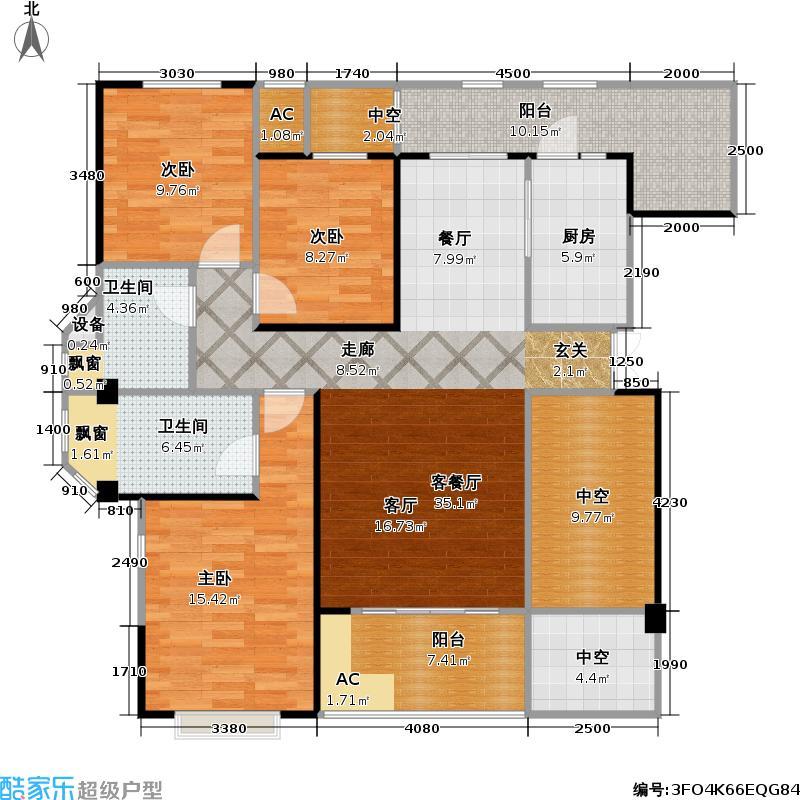保利中央峰景111.42㎡11+1洋房 10、11号楼10层 C15a 2室2厅2卫(实得150平米)户型2室2厅2卫