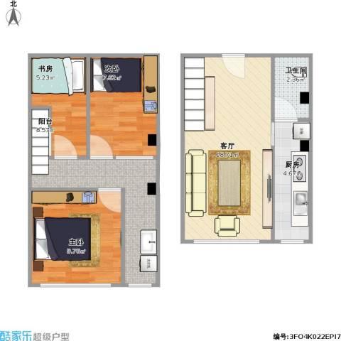 跃城3室1厅1卫1厨79.00㎡户型图