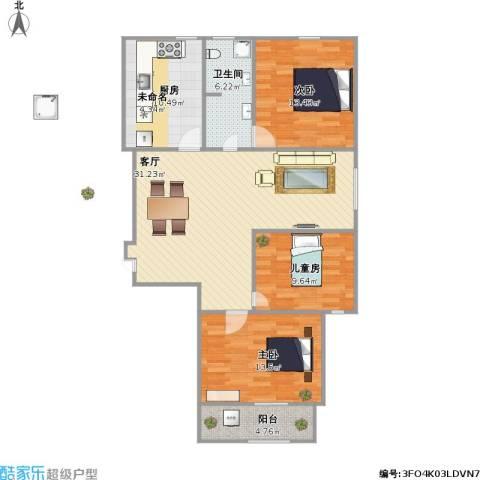 东方世纪城3室1厅1卫1厨120.00㎡户型图