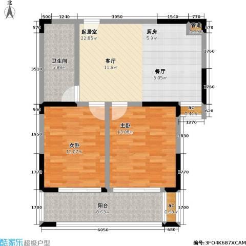 中茵星墅湾2室0厅1卫0厨74.00㎡户型图