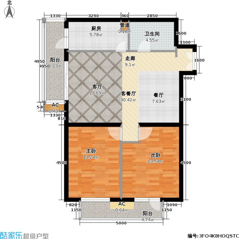 清枫华景园二室二厅户型