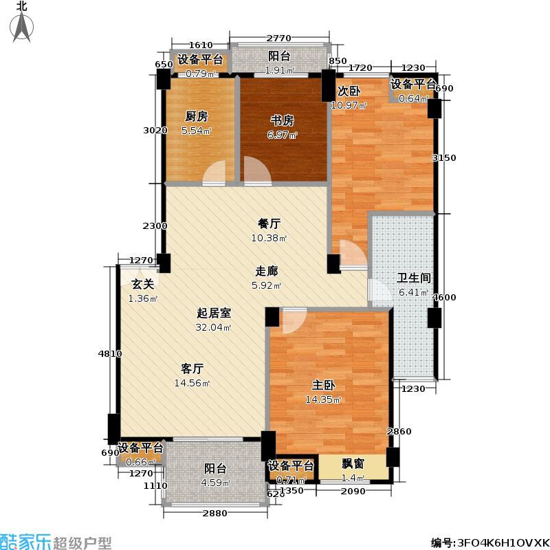 博大海蓝湾99.00㎡4#、13#楼3IA户型 三房二厅一卫户型