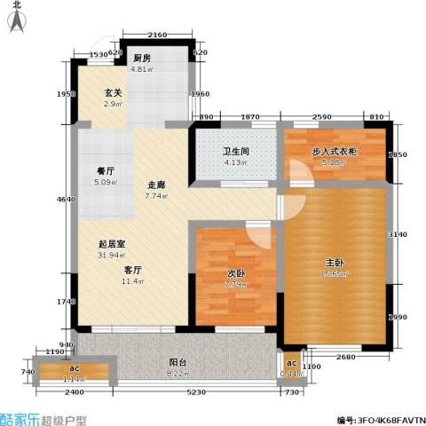 中茵星墅湾2室0厅1卫0厨88.00㎡户型图