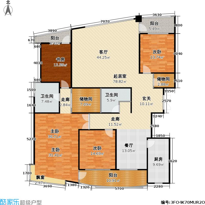 浦东世纪花园二期221.59㎡房型: 四房; 面积段: 221.59 -225.9 平方米; 户型