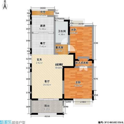 中茵星墅湾2室0厅1卫1厨91.00㎡户型图