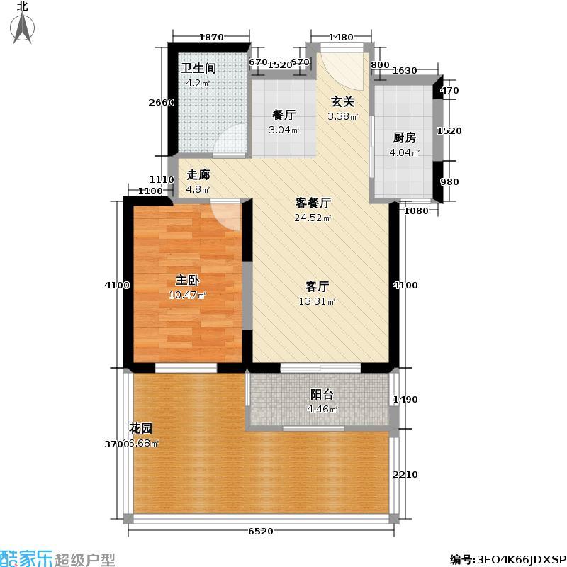 世嘉光织谷73.08㎡世嘉光织谷户型图4、8、11、15#楼庭院A2户型一室二厅一卫(1/10张)户型10室