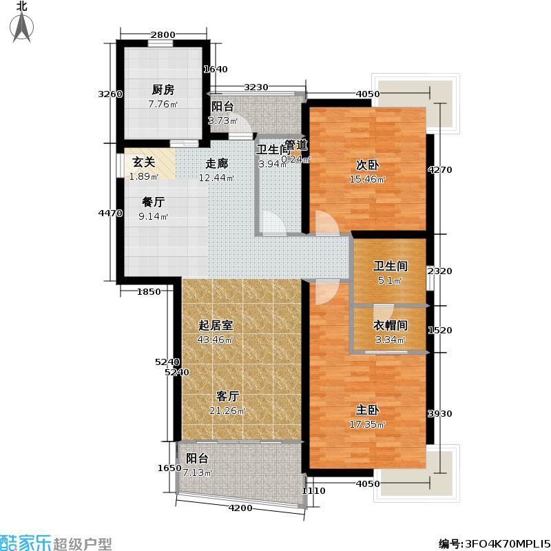 联洋年华113.49㎡房型: 二房; 面积段: 113.49 -121.51 平方米;户型