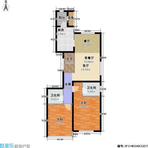 冠城・名敦道 冠城园2室1厅2卫0厨130.00㎡户型图