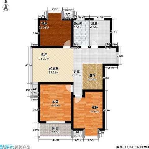 凯旋城3室0厅1卫1厨120.00㎡户型图
