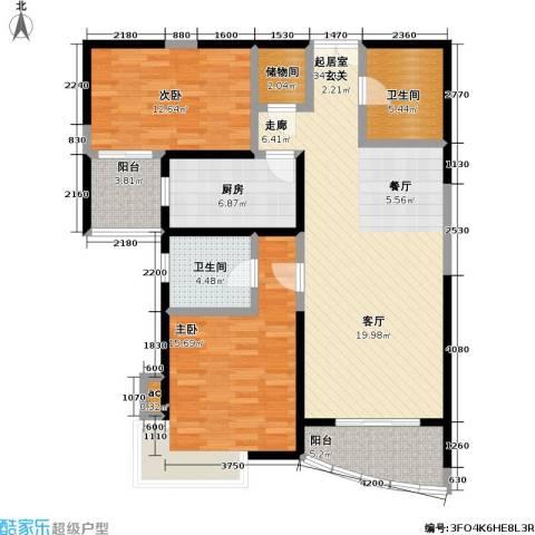 静安晶华园2室0厅2卫1厨90.65㎡户型图