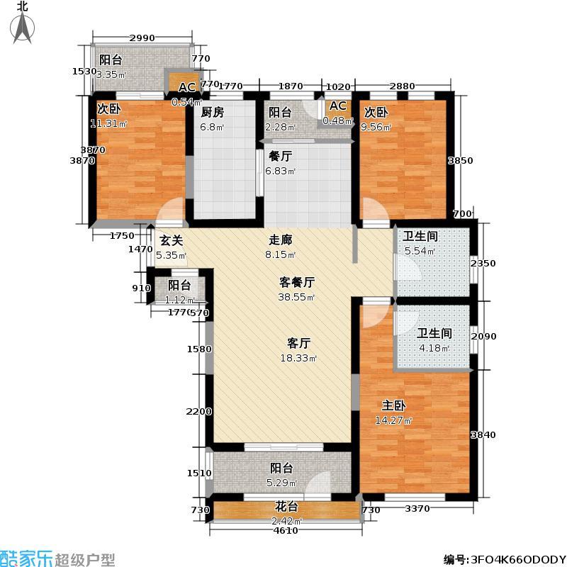 世嘉光织谷120.08㎡世嘉光织谷户型图4、8、11、15#楼C3户型三室二厅二卫(11/18张)户型10室