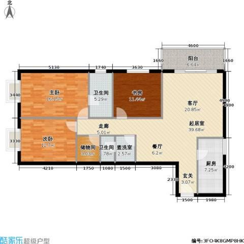 城市印象3室0厅2卫1厨118.00㎡户型图