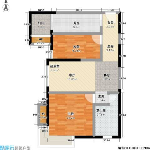 静安晶华园2室0厅1卫1厨72.00㎡户型图