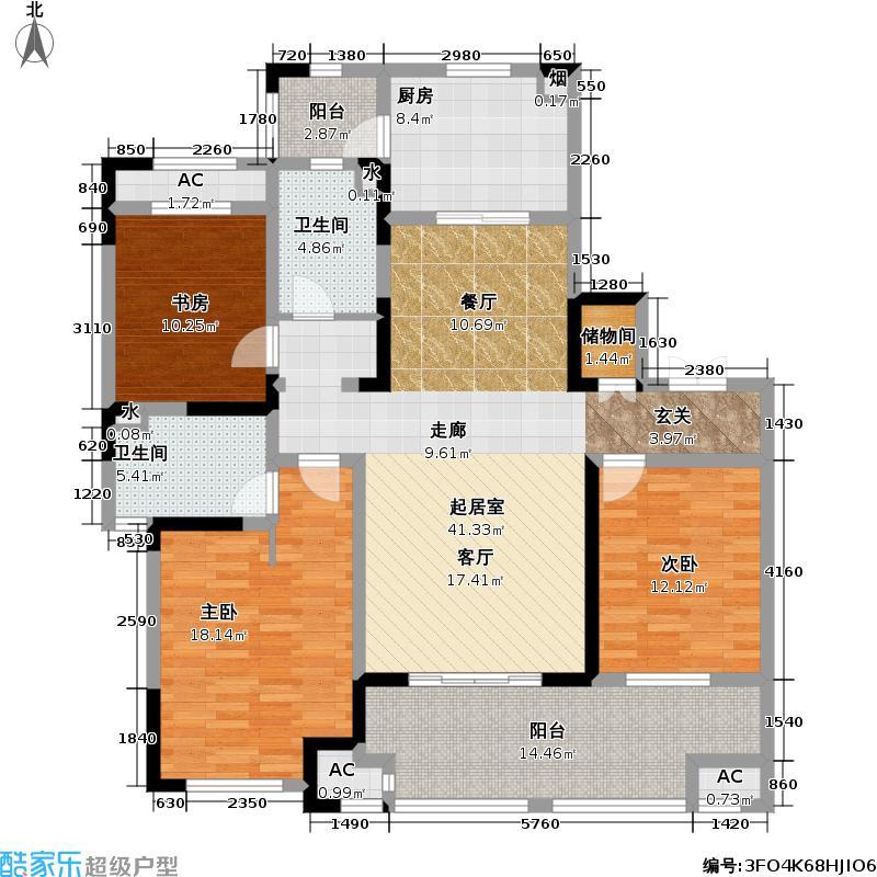 新城金郡151.50㎡新城金郡户型图5#C户型三房两厅两卫(2/5张)户型3室2厅2卫