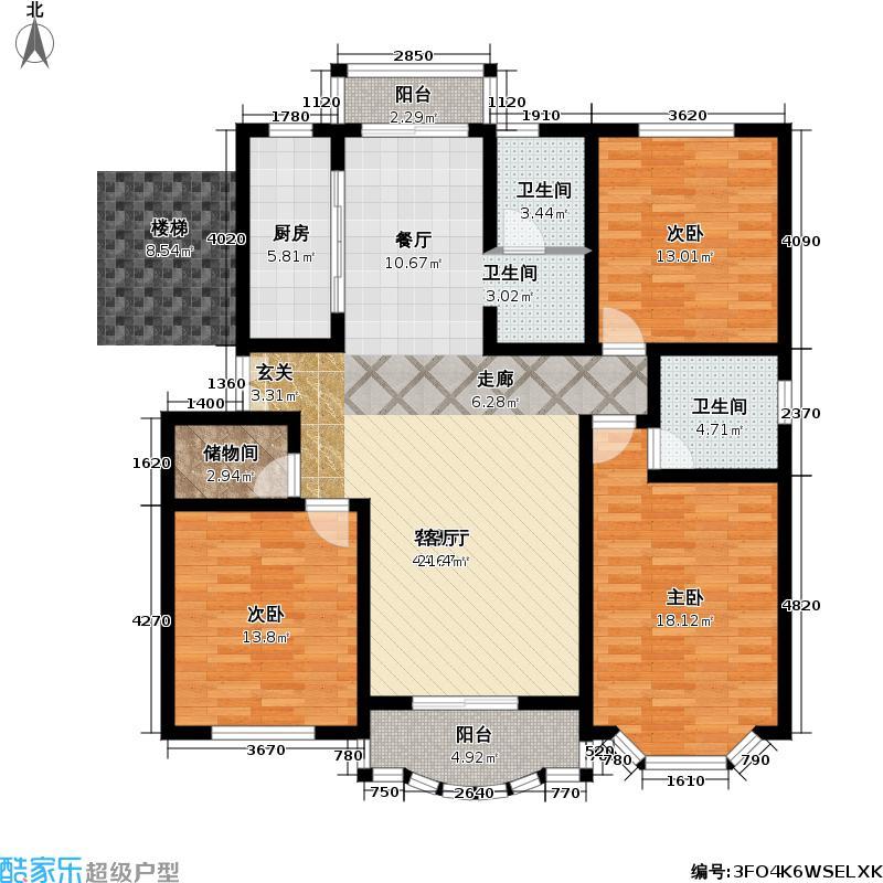 阳明国际花苑一期房型户型3室1厅2卫1厨
